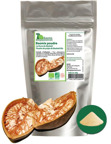 Baomix la poudre de pulpe de baobab biologique certifiée ecocert